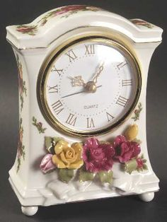 Mantel Clock in the Old Country Roses pattern by Royal Albert China