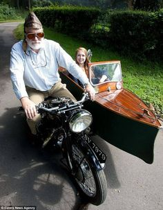 1931 New Hudson motorcycle came from the factory with its unusual sidecar..