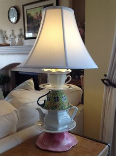 My teacup lamp, made from instructions found on Pinterest!