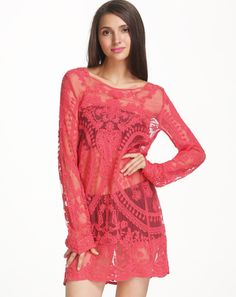 Red Long Sleeve Embroidered Lace Gauze Dress pictures