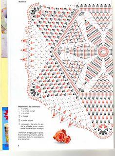 مفرش كروشيه بالباترون - crochet doily with pattern Crochet Doily Diagram, Crochet Doily Patterns, Crochet Chart, Thread Crochet, Filet Crochet, Crochet Motif, Crochet Doilies, Crochet Stitches, Knitting Patterns