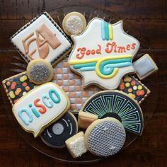 disco! cookies [cookie connection link] disco ball, bokeh, dance floor, neon lights, records, studio 54
