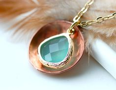 Everyday Necklace in Copper and Faceted Glass Charm by EONDesign, $29.00