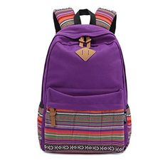 Stripe Canvas School Backpack College Campus Bag Rucksack Satchel Travel Sports Outdoor Travel Gym Bag Schoolbag for Teens Girls Boys Students Purple * Click image to review more details. (Note:Amazon affiliate link)