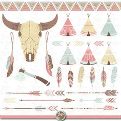 Tribal clipart pack: INDIAN CLIP ART teepee tents by YenzArtHaut