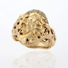 Gold and Diamond Art Nouveau Ring.  Available exclusively at Macklowe Gallery.