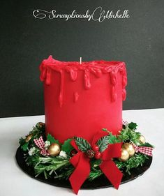 Red Christmas Candle cake made with Satin Ice Christmas Themed Cake, Christmas Cake Designs, Christmas Cake Decorations, Christmas Cupcakes, Christmas Sweets, Holiday Cakes, Christmas Candles, Christmas Baking, Red Christmas