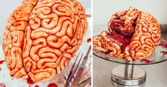 Red velvet Brain Cake with ropes of brainy fondant and oozing with seedless raspberry jam.