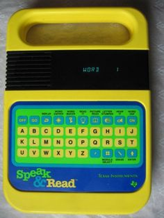 Texas Instruments SPEAK & READ Vintage Electronic Toy:  http://bygone-binds.ecrater.com/p/17620018/texas-instruments-speak-read-vintage#