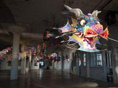 "Ai Weiwei's With Wind greets visitors to his exhibit, ""@Large,"" on Alcatraz Island in San Francisco. #aiweiwei #dragon #artonalcatraz"
