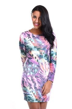 Red Label   Feather print bodycon dress, £10 #dress #feather #purple #loveredlabel www.loveredlabel.com