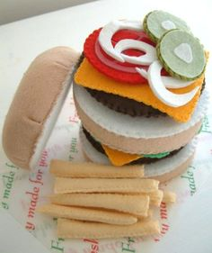 FELT FOOD burger and fries q. $40.00, via Etsy.