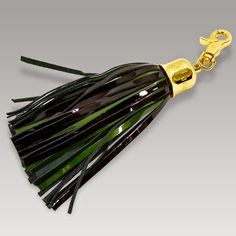 Marino Orlandi Designer Signature Large Green/Brown Leather Tassel Key
