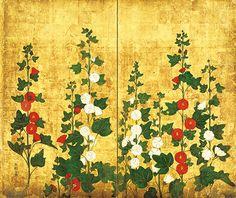 Hollyhocks and Peacocks folding screen pair. Important Cultural Property of Japan. Japanese Patterns, Japanese Prints, Chinese Painting, Chinese Art, Klimt, Asian Landscape, Art Nouveau, Feuille D'or, Japan Painting