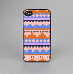 The Pink-Blue & Coral Tribal Ethic Geometric Pattern Skin-Sert for the Apple iPhone 4-4s Skin-Sert Case
