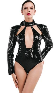 Turning Point Black Sequin Long Sleeve Mock Neck Plunge Cut Out Bodysuit