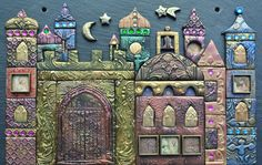 Mixed media mosaic inspired by Arabian Nights - polymer clay on slate