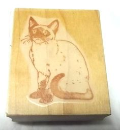 Siamese Cat rubber stamp wood mounted sitting wood mounted felines animals pets #Unbranded #CatsFelines