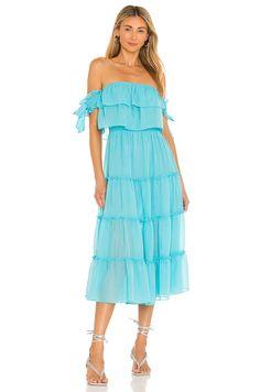 MISA Los Angeles X REVOLVE Micaela Dress in Sky Blue | REVOLVE Blue Dress Casual, Dressy Dresses, Blue Dresses, Sheer Chiffon, Chiffon Fabric, Global Style, Revolve Clothing, Ruffle Trim, Strapless Dress