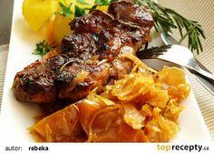 Pomalu pečená vepřová krkovice na voňavém zelí recept - TopRecepty.cz Pork, Beef, Treats, Chicken, Style, Kale Stir Fry, Meat, Sweet Like Candy, Swag
