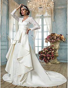 79d5641612 A-Line V Neck Chapel Train Lace Satin Wedding Dress with Sash   Ribbon by  LAN TING BRIDE®