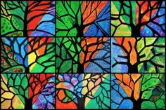 tree 4 seasons - oil pastels