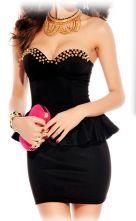 Black Strapless Rivet Ruffle Bodycon Dress