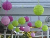 Pink and lime green chinese lanterns   wedding decoration
