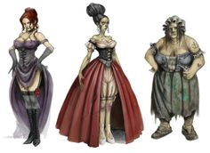 """Fable 2 concept art for some of the many non-playable """"prostitue"""" characters… Character Concept, Character Art, Concept Art, Character Design, Fantasy Rpg, Medieval Fantasy, Fantasy Characters, Female Characters, Fable Ii"""