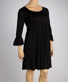 Take a look at this Black Three-Quarter Sleeve Dress - Plus by GLAM on #zulily today!