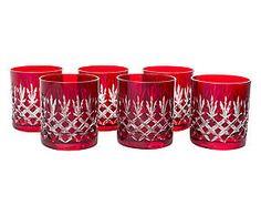Set di 6 bicchieri in cristallo con intagli renoir rubino - d 9/h 9 cm