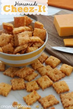 Homemade Cheez-Its! Perfect for snacking, lunches, etc yum!