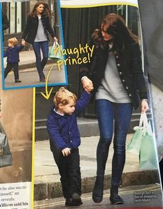 A recent picture of Catherine, Duchess of Cambridge out shopping with Prince George. Prince George doesn't seem to be a fan of shopping. The Duchess is wearing a Katherine Hooker, the Hendre style jacket with a pair of Russell and Bromley 'Chester' loafers. Credit goes to Australia's Woman's Day magazine.