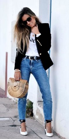 #fall #outfits  women's black blazer, white shirt, blue jeans, white shoes, and sunglasses