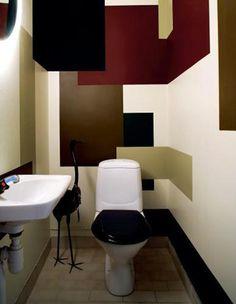 peinture WC de plusieurs couleurs marron, rouge, beige