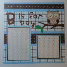 Owl Baby Boy Scrapbook Page Paper Piecing B is by BabyBearsCottage