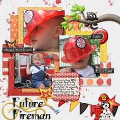 What a cutie he was in his little fireman hat! I used FIREFIGHTER BUNDLE by DIGILICIOUS DESIGNS found here:  http://www.sweetshoppedesigns.com/sweetshoppe/product.php?productid=28627&cat=693&page=1 and a template from Southern Serenity OASIS Template pack found here:  http://www.thedigichick.com/shop/Oasis.html