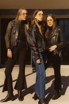 HAIM is our ultimate girl group/sister goals. Their latest sound and look are a blast from the past. Though we wouldn't wear leather jackets in this heat, pint-tinted sunglasses are up our alley.