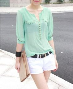 Spring Recommendation Green Mint Chiffon Blouse -- I like the buttons