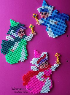 sandylandya@outlook.es Disney The three Fairies Cinderella hama beads by ILUSIONES SCRAP would be adorable in cross stitch on a baby item