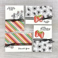 Click here to see the note card set and pouch that I made with the Strawberry Builder Punch, coordinating Sweet Strawberry Stamp Set, and a sheet of Pattern Party Designer Paper. - Stampin' Up!® - Stamp Your Art Out! www.stampyourartout.com #stampyourartout #stampinup Online Paper, Velcro Dots, Paper Pumpkin, Layout Inspiration, Stamping Up, Community Art, Paper Design, Stampin Up Cards, Paper Goods