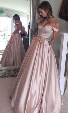 Off Shoulder Backless Beaded Waist Long Prom Dress,Wedding Party Dress