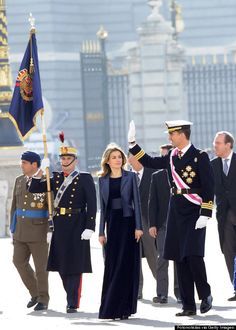 Princess Letizia in Navy Blue Gown with wide waistband