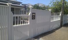 Street View of finished front gate and fence