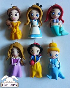 fimo polymer clay collana necklace disney princess