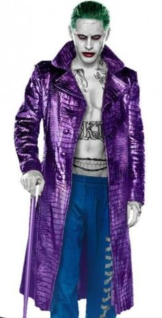 Jared Leto's Joker Suicide Squad Purple Long Coat For Men - Best Deal