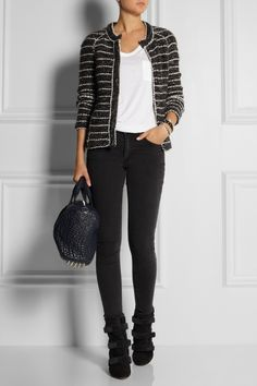 Étoile Isabel Marant | Iona bouclé jacket, T by Alexander Wang top, Acne jeans, Isabel Marant boots, and Alexander Wang bag.