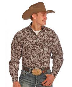 Tuf Cooper Panhandle Slim Brown Paisley Shirt at Maverick Western Wear