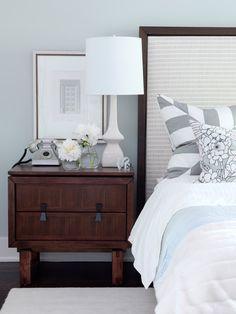 Light and airy bedside setup // bedroom