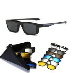 373414c79d With 5 clip on Polarized Sunglasses Magnetic Adsorbent Glasses Frame Men  Women Optical Spectacle Frame myopia eyeglasses